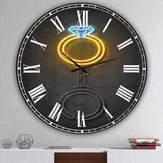 Designart 'Diamond Ring' Large Modern Wall Clock