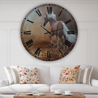 Porch & Den [Clock] Running Brown Horse' Large Cottage Wall Clock