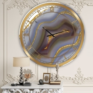 Designart 'Golden Core Agate' Large Fashion Wall Clock