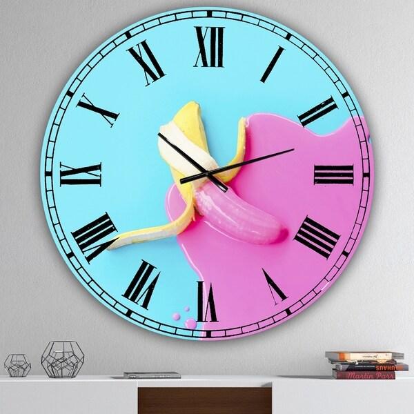 Designart 'Pink And Blue Banana' Oversized Modern Wall Clock