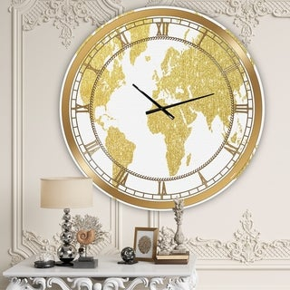 Designart 'Golden Map Of The Earth' Large Fashion Wall Clock