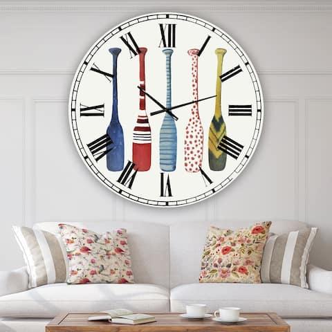 Designart 'Five Paddles' Oversized Lake House Wall Clock