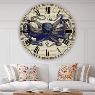 Designart 'Octopus Music Score I' Oversized Nautical & Coastal Wall Clock