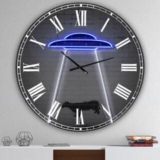 Designart 'Neon UFO Abducting Cow' Oversized Modern Wall Clock