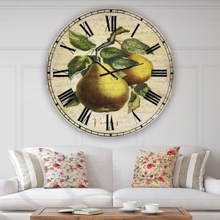 Designart 'Pear Old Style Sketch II' Large Cottage Wall Clock