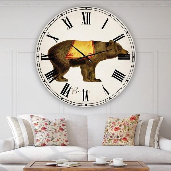 Designart 'Circus Animals Bear' Oversized Cottage Wall Clock