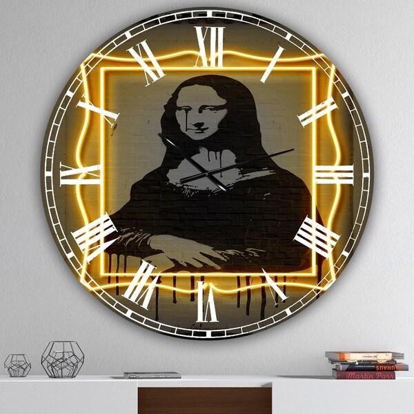 Designart 'Mona Lisa Neon ' Large Modern Wall Clock