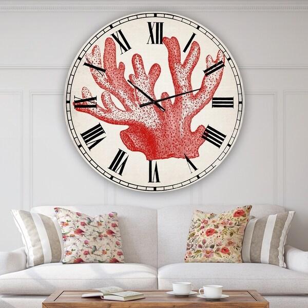 Designart 'Red Coral 3' Oversized Nautical & Coastal Wall Clock