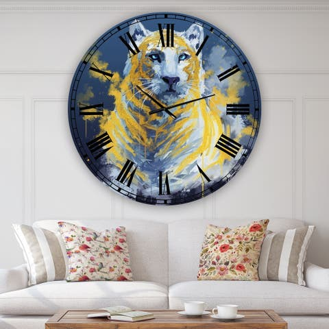 Designart 'Tiger Spirit in Blue and Gold' Oversized Fashion Wall Clock