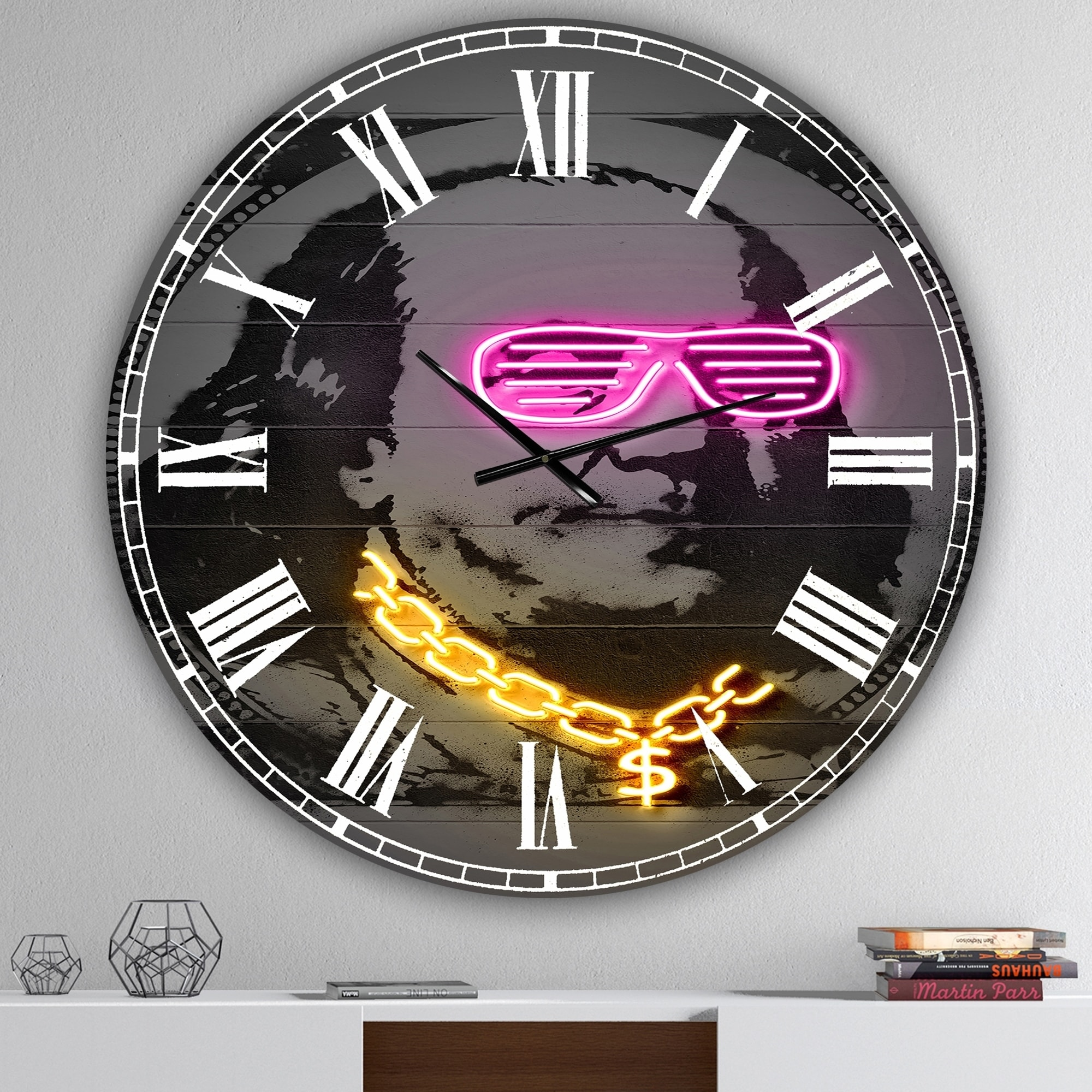 Designart Benjamin Franklin Neon Rap Large Modern Wall Clock On Sale Overstock 28262226