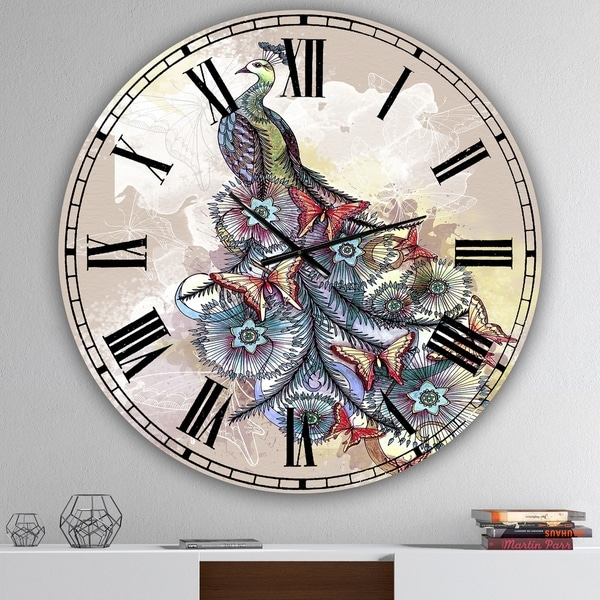 Designart 'Butterfly Peacock' Oversized Cottage Wall Clock