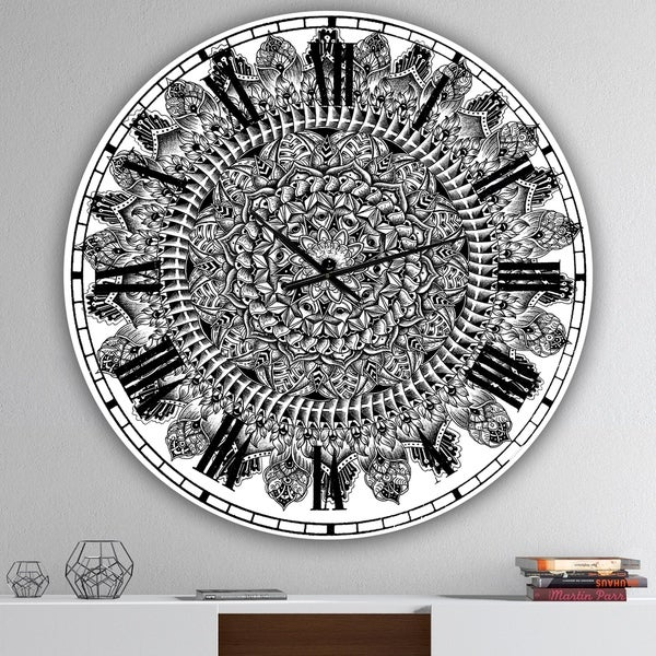 Designart 'Mandala Drawing' Large Traditional Wall Clock