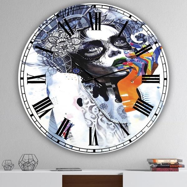 Designart 'Beautiful Urban Dreaming Girl' Oversized Modern Wall Clock