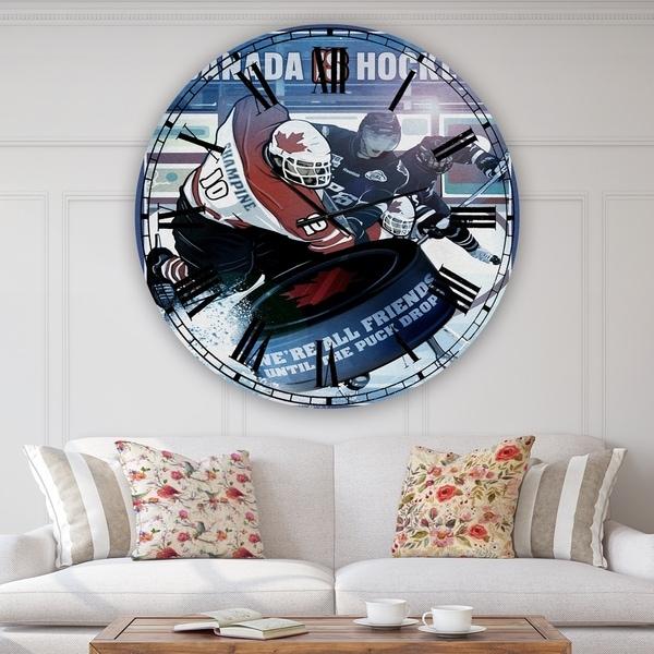 Designart 'Canada is Hockey' Traditional Wall Clock