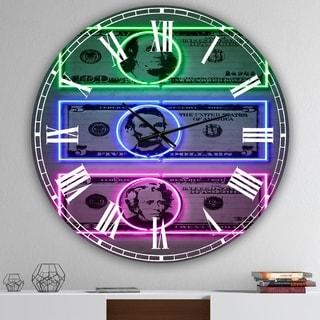 Designart 'Founding Fathers Neon Dollar' Oversized Modern Wall Clock