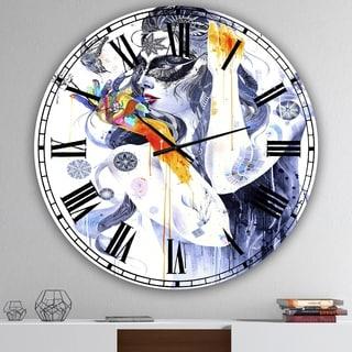 Designart 'Urban Girl Watching Butterfly' Oversized Modern Wall Clock