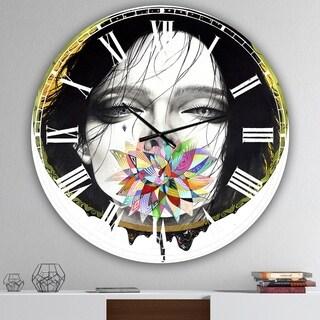 Designart Black Blossom Multicolor Aluminum Oversized Modern Wall Clock