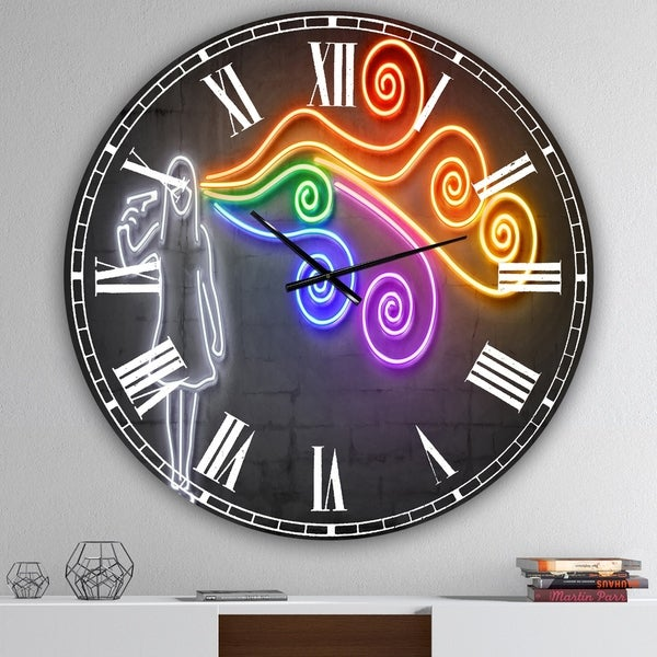 Designart 'The dark side of the mind' Modern Wall Clock