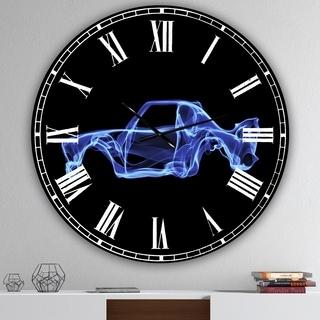 Designart 'BMW 30 CSL' Blue Steel/Aluminum Large Modern Wall Clock