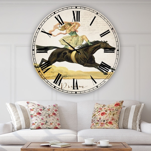 Designart 'Dream Young Lady On Black Stallion' Oversized Cottage Wall Clock