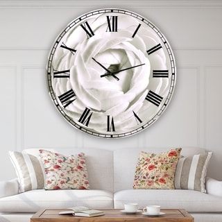 Designart 'White Rannunculus Close up' Large Cottage Wall Clock