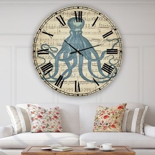 Designart 'Octopus Music Score II' Large Nautical & Coastal Wall Clock