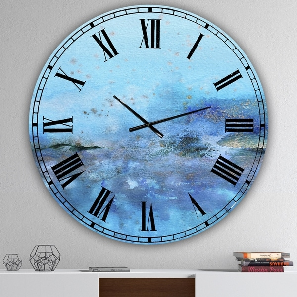 Designart 'Blue And Gold Water Impression' Large Modern Wall Clock