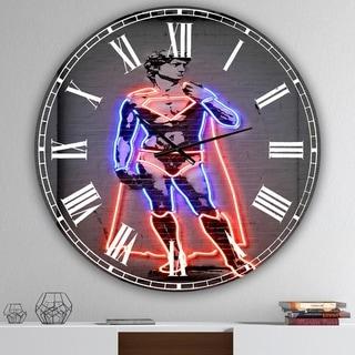 Designart 'David Michelangelo Superman' Large Modern Wall Clock