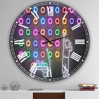 Designart 'Boy Collecting Neon Circles' Oversized Modern Wall Clock