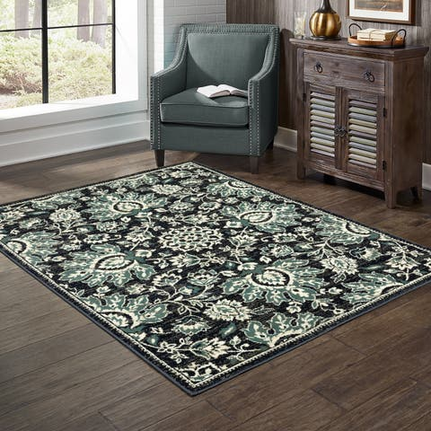 Essence Navy and Ivory Vintage-style Area Rug
