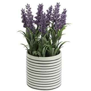 Artificial French Lavender Plant with striped Ceramic Pot - Purple