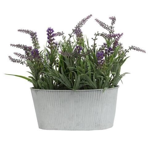 Artificial Wild Lavender in Rustic Tin Vessel - Purple