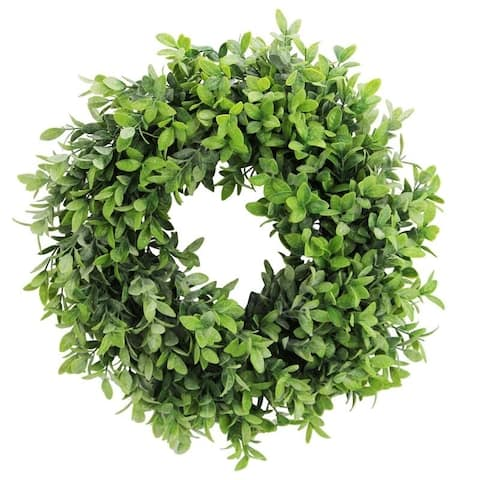 """Artificial 18"""" Frosted English Boxwood Wreath"""