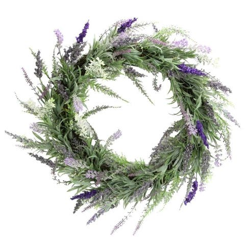 """Artificial 22"""" French Lavender Wreath"""