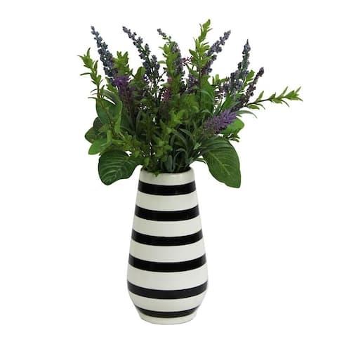 Artificial Lavender w/ Mixed Plant Foliage Striped Vase - Purple