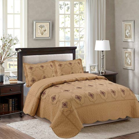 Porch & Den Heceta Embroidered 3-piece Bed Coverlet Set