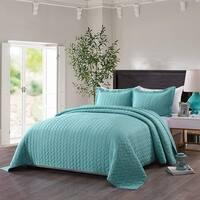 3 PCS Prewashed Lightweight Bedspread Quilt Set Leaf