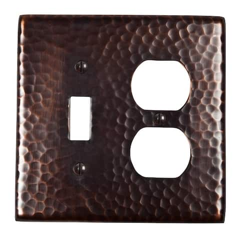 Two Hammered Copper Switch-Receptacle Combo Plates, The Copper Factory CF126