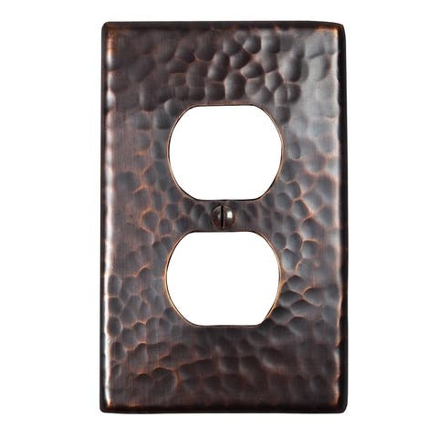 Two Hammered Copper Duplex Receptacle Plates By The Copper Factory CF122
