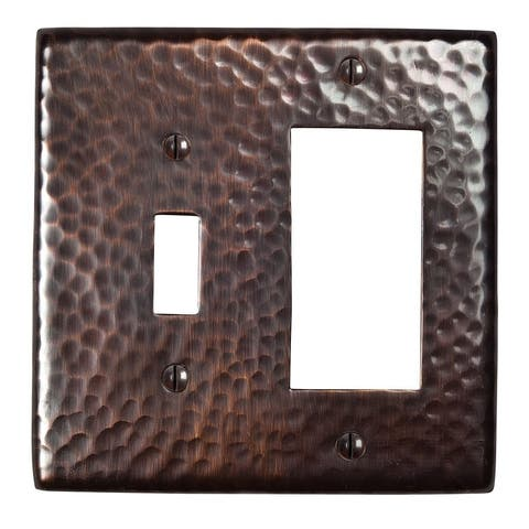 Two Hammered Copper Switch-GFCI Combo Plates By The Copper Factory CF125