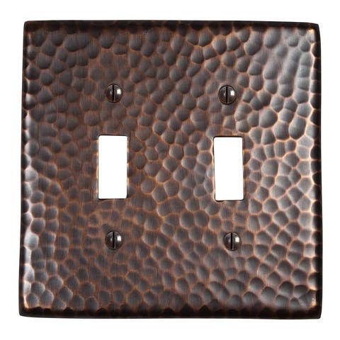 Two Solid Hammered Copper Double Switch Plates By The Copper Factory CF123