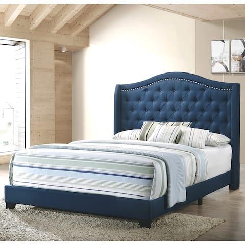 Modern Elegant Demi-Wing Design Button Tufted Blue Upholstered Bed