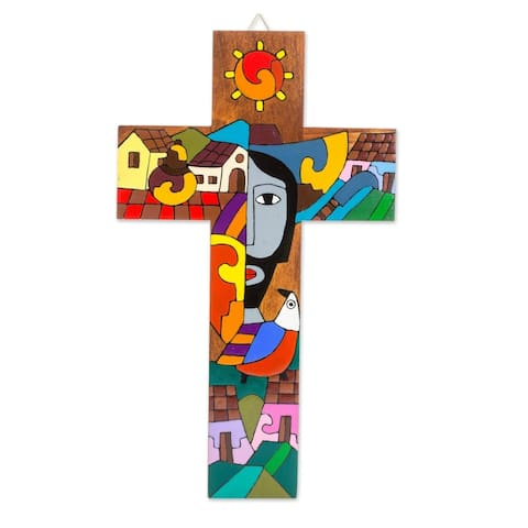 Handmade Possession of Two Hearts Wood Wall Cross (El Salvador)