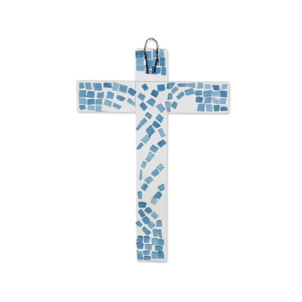 Handmade Faith Flows Recycled Glass Cross (Costa Rica). Opens flyout.