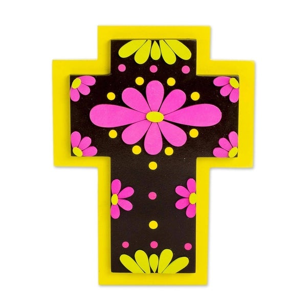 Neon Flowers Gourd and wood wall cross