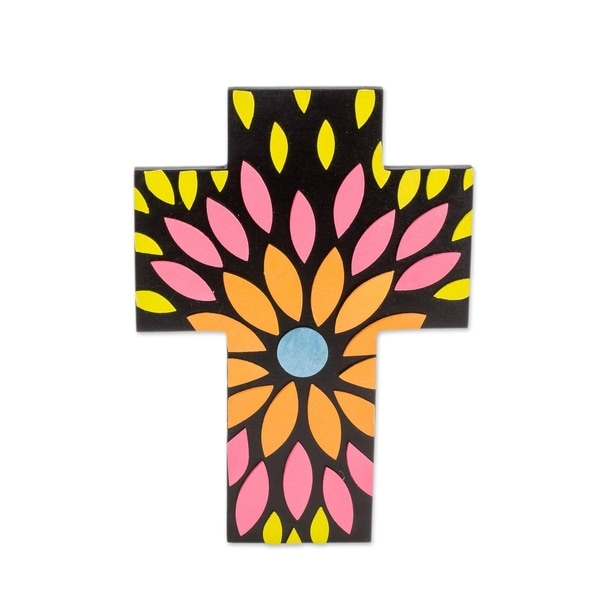 Flowering Colors Gourd and wood wall cross