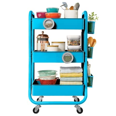 Designa 3 Tier Metal Storage Rolling Cart with Utility Handle and Extra Storage Accessories - Turquoise