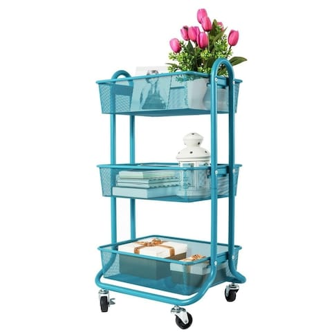 Designa 3 Tier Metal Mesh Rolling Storage Cart with Utility Handle - Turquoise