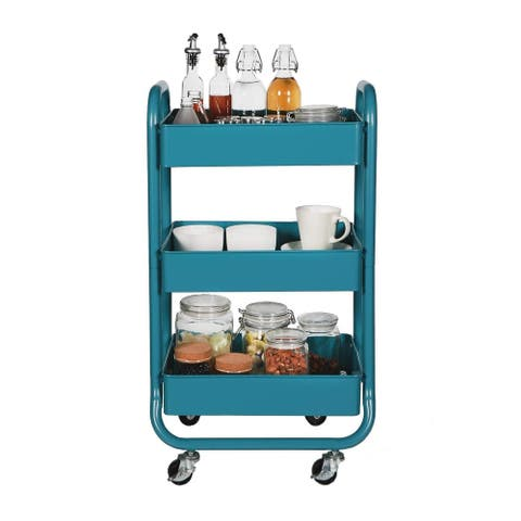 Designa Home Office Outdoor Kitchen 3 Tier Metal Mobile Rolling Storage Utility Organization Cart with Handles - Turquoise