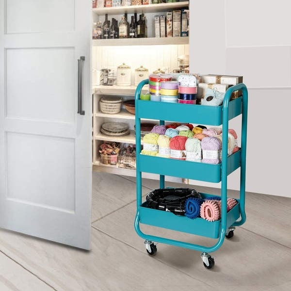 Designa Home Office Outdoor Kitchen 3 Tier Metal Mobile Rolling Storage Utility Organization Cart With Handles Turquoise Overstock 28262837